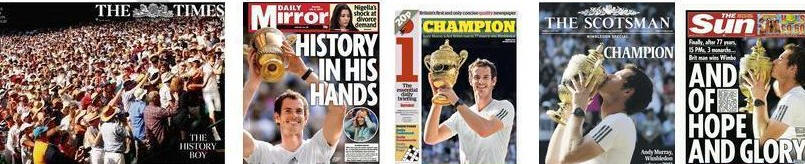 Wimbledon champion Andy in the papers