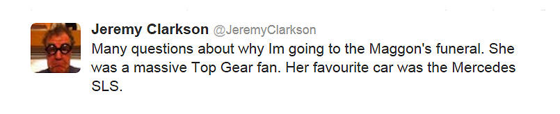 Clarkson's going to the funeral & tweeted a rubbish excuse