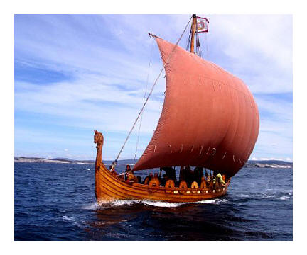 the longship Olav Tryggvason which Mr Norwegian sailed from Isle of Man to Trondheim in 1997
