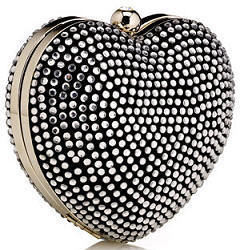 Accessorize black crystal heart clutch