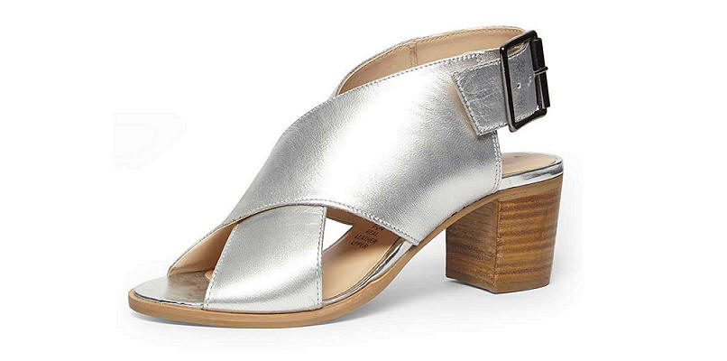 Dorothy Perkins Silver Leather Cross Sandal