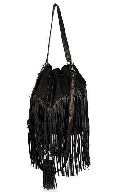 River Island Black Leather and Suede Fringed Duffle Bag