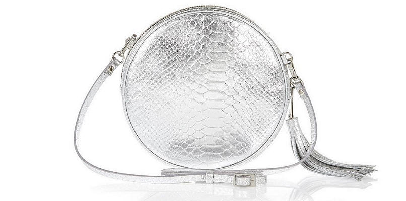 River Island silver croc leather circle bag