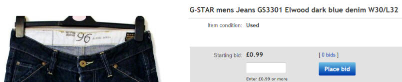 G-Star Jeans on The eBay