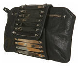 Top Shop black leather Silver Plate Clutch