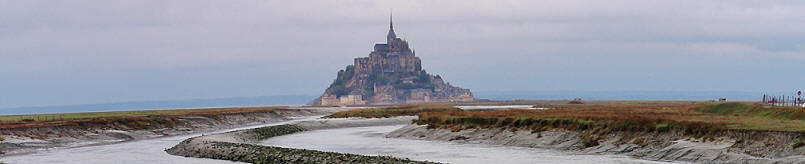 view from the dam of Mont Saint-Michel at low tide
