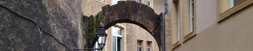old cobbled street arch
