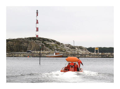 a life boat leaving Tananger Harbour