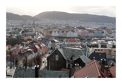 view on Bergen from up a very steep hill