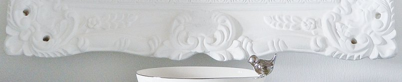 B&Q Baroque mirror, Ceramic Dish with Silver Bird & Large White Resin Stag Head
