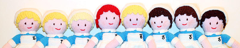 all 8 of The Starry Towers knitted nurses